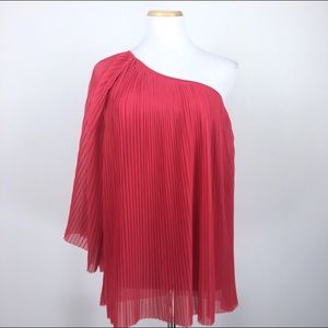 Topshop Size 2 Pleated One-Shoulder Blouse Top